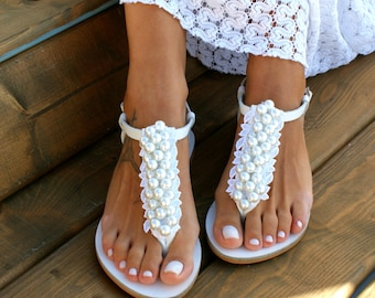 f41184b0afadf Wedding sandals  bridal sandals  leather sandals  handmade sandals  pearl  sandals  beach wedding sandals  wedding shoes