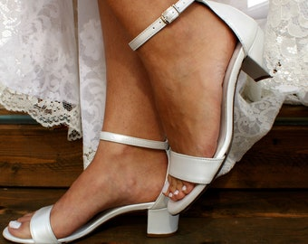 bb4584f42 Block heel white leather wedding sandals  Handmade white leather low heels  Bridal  shoes  Wedding shoes  Pearlized white heels BIANCA 2