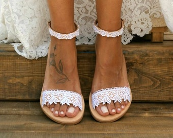 c216efafe6f98d Handmade to order  white lace sandals  bridal sandals  wedding shoes   wedding sandals  white lace shoes  beach sandals