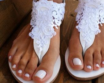43bb065d6 Wedding sandals  white leather bridal sandals  white lace sandals  handmade  sandals  beach wedding sandals  wedding shoes