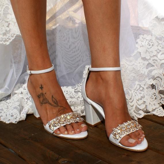 Block heel white leather wedding sandals/ Handmade white leather heels/  Bridal heels/ Rhinestone-embellished wedding shoes/ VENETIAN GOLD