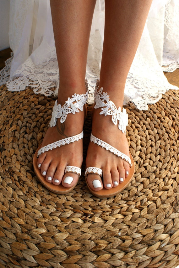 Handmade to order lace sandals bridal sandal wedding shoes off white wedding sandals flat lace sandals beach sandals