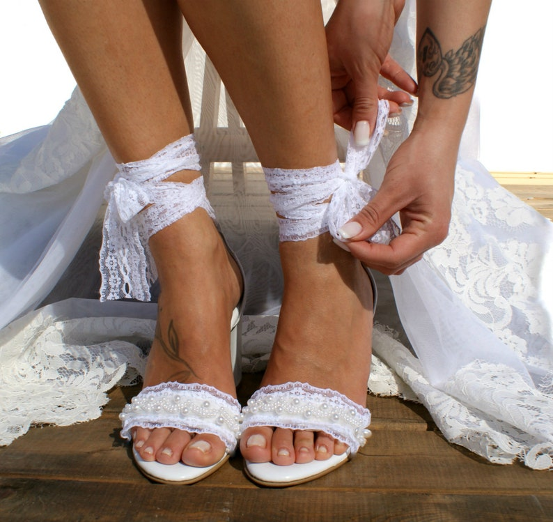 c1b2ead1fc3 Block heel white leather wedding sandals  Handmade white