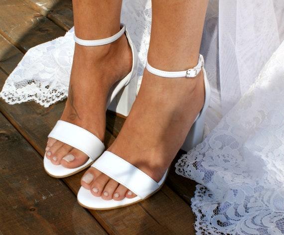 f407783d83219 Block heel white leather wedding sandals/ Handmade white leather heels/  Bridal shoes/ Wedding shoes/ Pearlized white bridal heels BIANCA