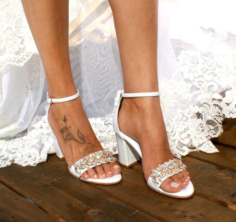 131f5448283 Block heel white leather wedding sandals/ Handmade white leather heels/  Bridal heels/ Rhinestone-embellished wedding shoes/ VENETIAN GOLD