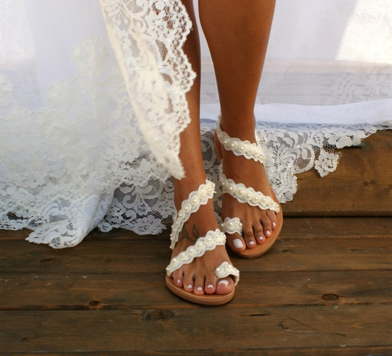 Handmade to order lace sandals bridal sandal wedding shoes ivory wedding sandals flat lace sandals beach sandals
