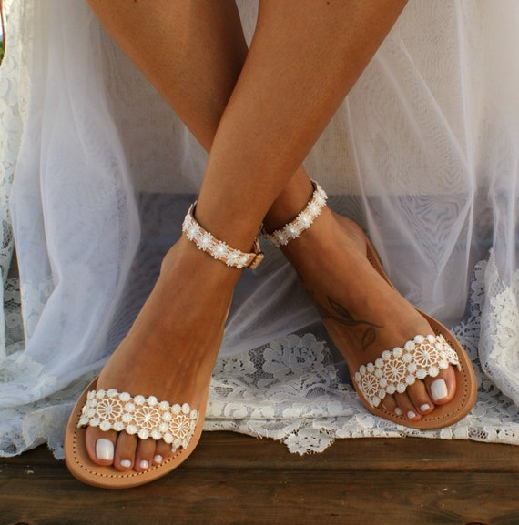 Handmade to order ivory lace sandals bridal sandals wedding shoes wedding sandals ivory lace shoes beach sandals