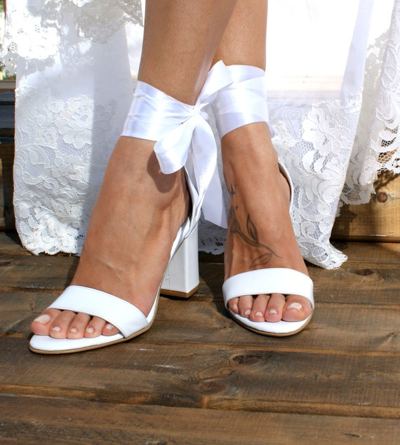 Block heel white leather wedding