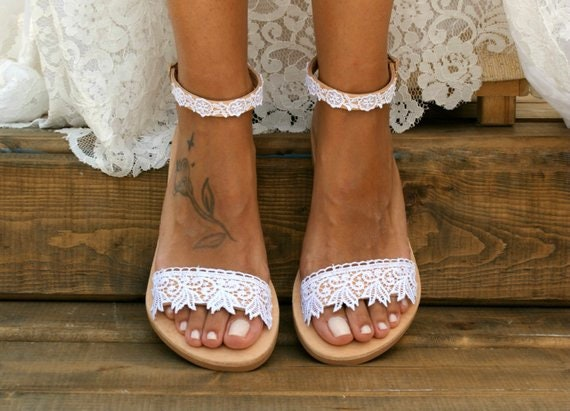 dd9f21ae392 Handmade to order  white lace sandals  bridal sandals  wedding