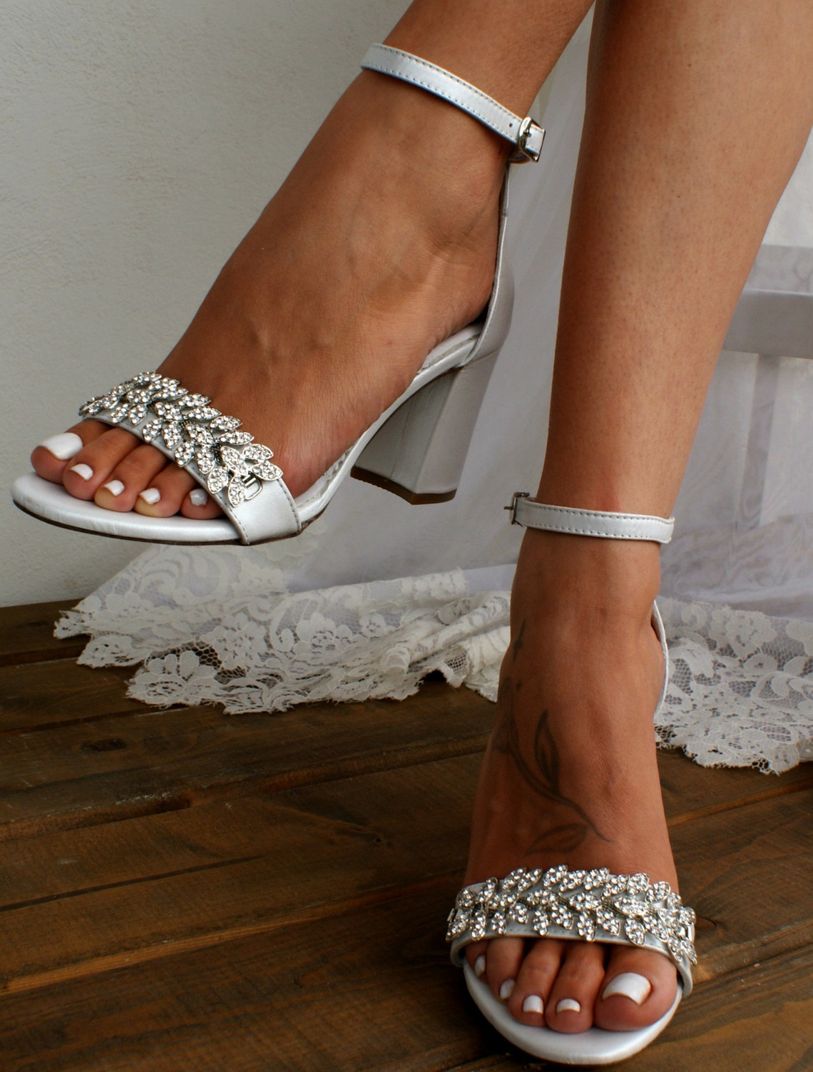 Block heel white leather wedding sandals/ Handmade leather shoes/ Bridal heels/ Silver crystals-embellished shoes/  VENETIAN SILVER WHITE