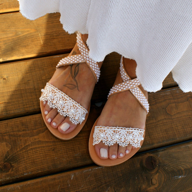 35675fb19cd37 Wedding sandals/ white lace bridal sandals/ leather sandals/ handmade  sandals/ pearl shoes/ beach wedding sandals/ wedding shoes/ BELLA 2
