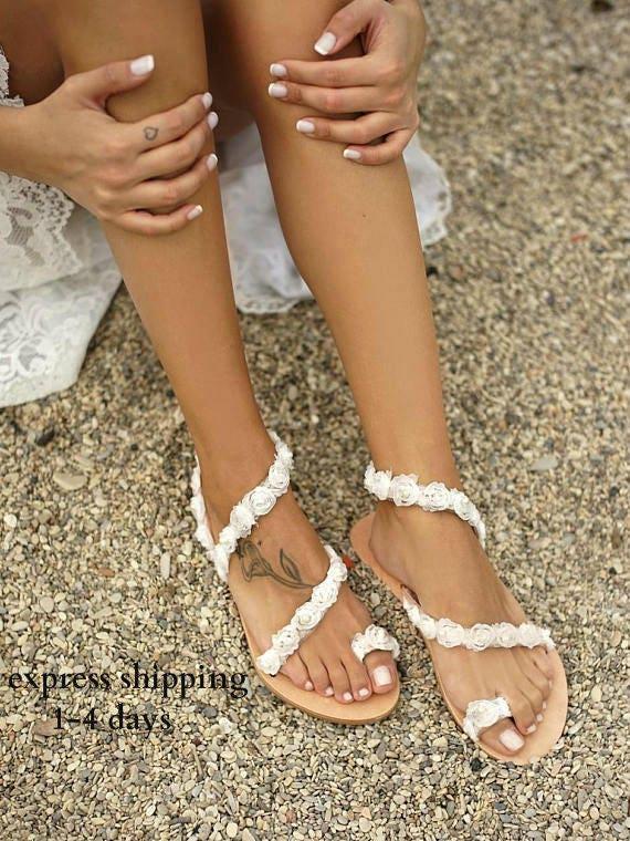 Handmade To Order Romantic Sandals Bridal Sandals Flower Etsy