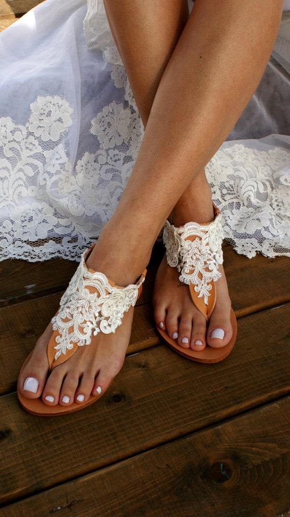 e27803efad35c Wedding sandals/ natural leather bridal sandals/ ivory lace sandals/  handmade sandals/ beach wedding sandals/ wedding shoes/