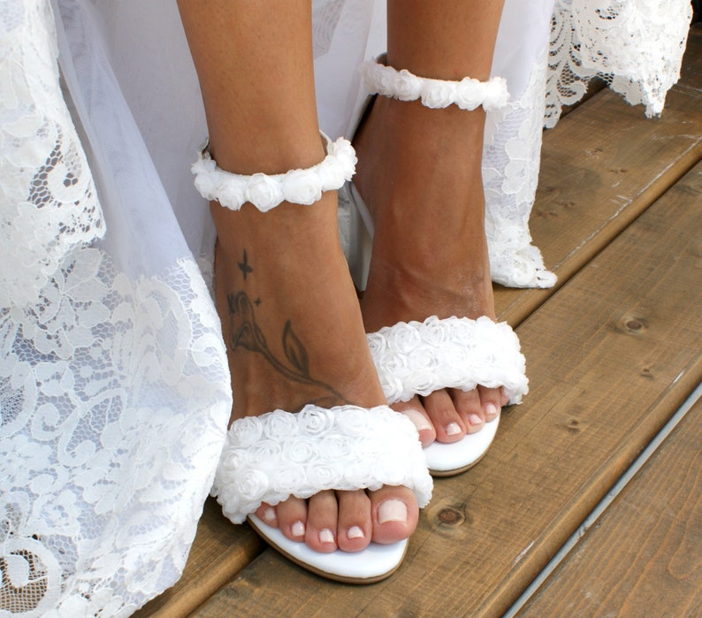 2225931ba2d Block heel white leather wedding sandals  Handmade white