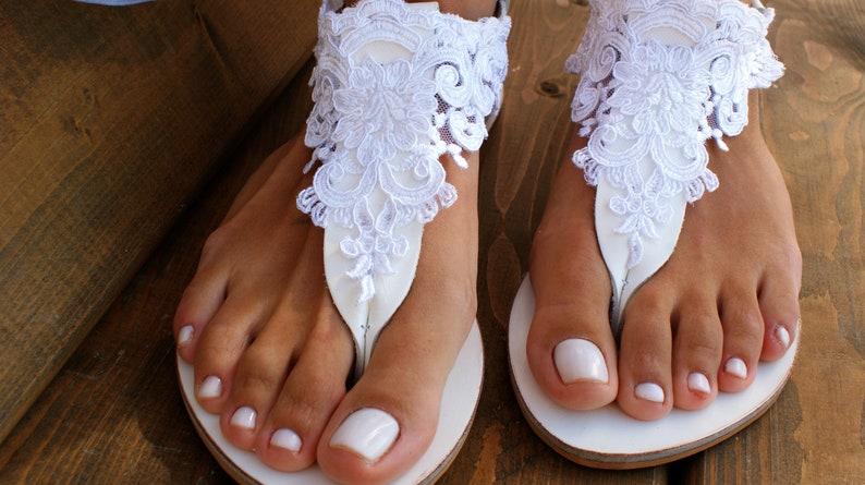743648b91f66d Wedding sandals/ white leather bridal sandals/ white lace sandals/ handmade  sandals/ beach wedding sandals/ wedding shoes/