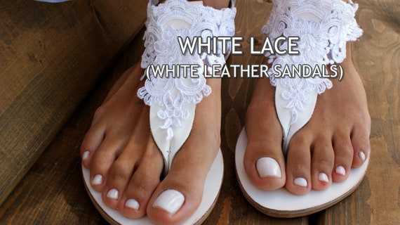 ab8eb538235 Wedding sandals  white leather bridal sandals  white lace
