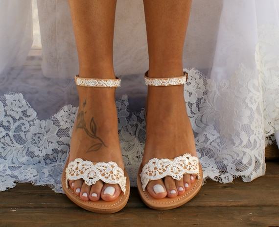 Handmade to order ivory lace sandals bridal sandals wedding shoes wedding sandals for bride ivory lace beach sandals