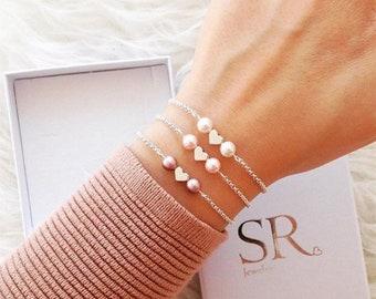 armband herz geschenk schwester valentinstagsgeschenk frauen geschenk freundin geburtstag armband mit herz und perlen herzarmband