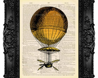 Hot Air Balloon - Dictionary Art Print Vintage Upcycled Antique Book Page no. 074