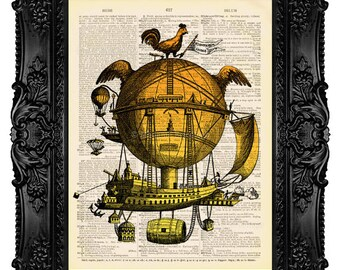 Hot Air Balloon - Dictionary Art Print Vintage Upcycled Antique Book Page no. 062
