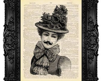 Victorian Woman with Moustache - ORIGINAL ARTWORK - Dictionary Art Print Vintage Upcycled Antique Book Page no. 052