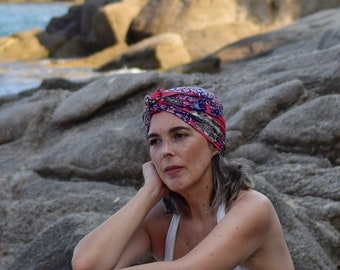 Pink paisley turban scarf for women, easy head scarf, hippie headwrap, chemo headwear