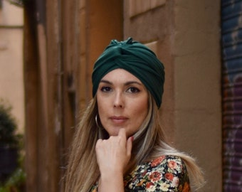 Forest green turban hat for women, boho head scarf, convertible hairscarves, womens hair scarf, chemo headwear