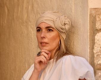 Beige turban hat for women, multiway head scarf, neutral colors headwear