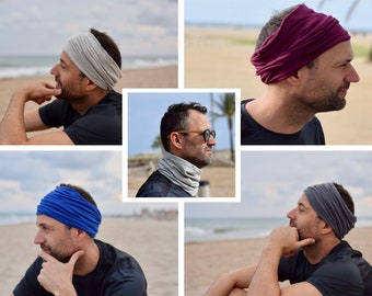 Headbands tube scarf for men in solid colors: blue black gray; yoga wide headband