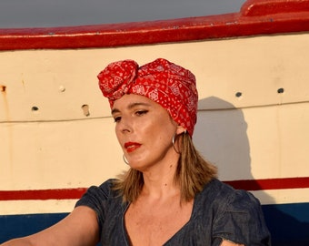 Red bandana turban hat for women, boho head wired scarf, convertible hairscarves, womens hair scarf, chemo headwear