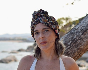 Paisley turban hat for women, , convertible hairscarf, womens hair scarf wrap, chemo headwear