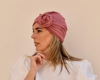 Dusty pink turban hat for women, boho head scarf, convertible hairscarves, womens hair scarf, chemo headwear