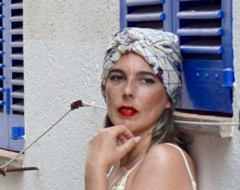 Boho chic turban scarf for women, head scarf with sun moon roses and eyes, hippie headwrap, chemo headwear