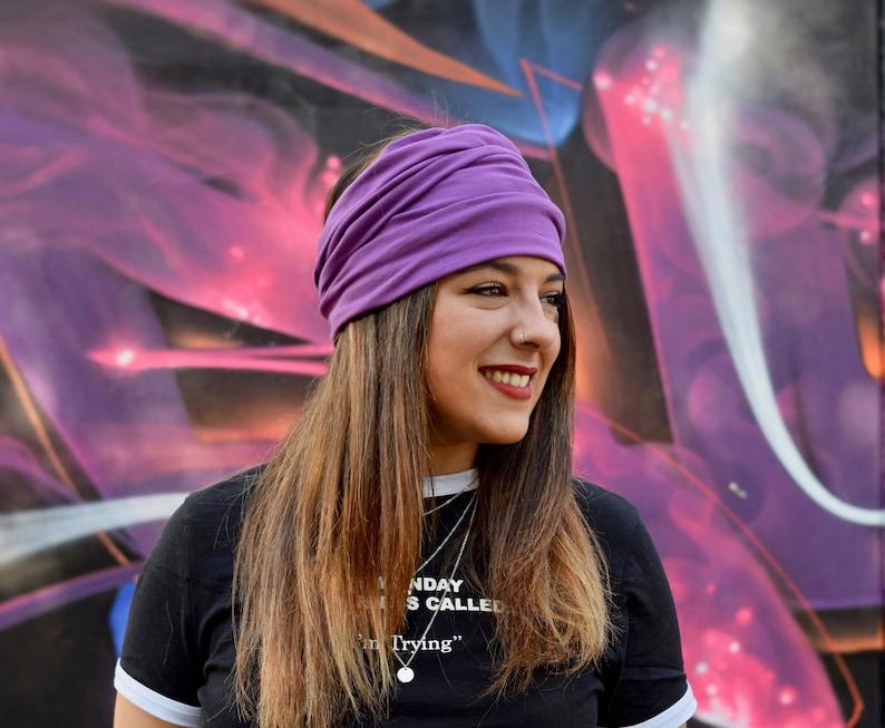 Purple extra wide headbands for women, yoga head wrap bandana, boho hair  band, hippie headband