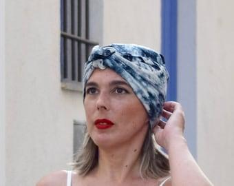 Tie dye turban scarf for women, boho head scarf, hippie headwrap, chemo headwear