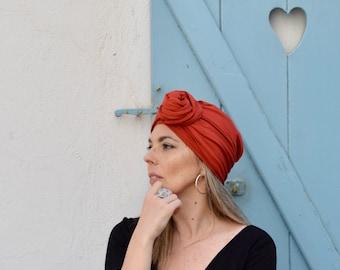 Burnt orange turban hat for women, multiway head scarf