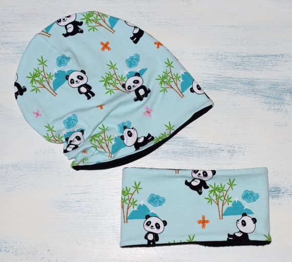 fbc28dc0b24 Hat and scarf set mint panda slouch beanie for newborn baby
