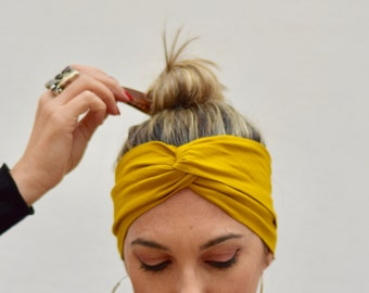 Mustard turban headbands for women, aesthetic head scarf, wide hair band, womens head bands, yoga headband, yellow hairband