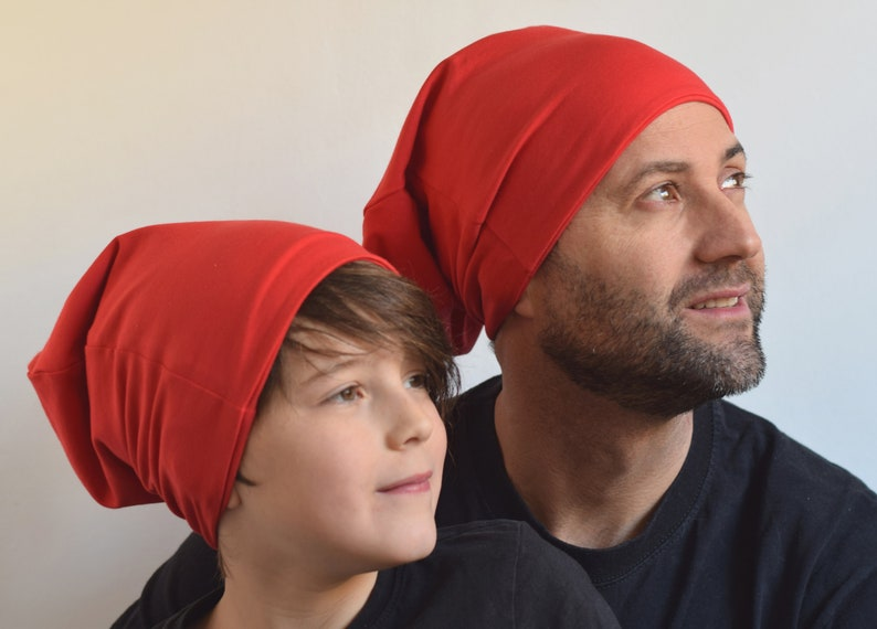 b40276fb69165 Father son matching red slouchy beanie photo prop ideas