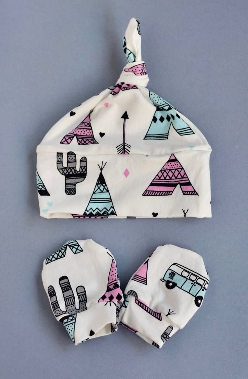 coming home outfit Preemie Newborn Tipi Hat Mittens Set New Baby Boy Girl Beanie