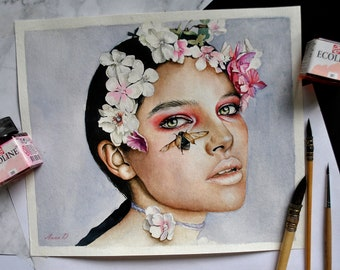 Girl with flowers portrait