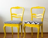 Yellow Vintage Conceptual Modern French Chairs with aesthetic fabrics