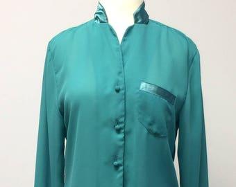 TN-o Vintage Ladies Sheer lumineux vert Secrétaire Top Blouse taille moyenne grande rétro Vintage 1980 s Costume Style manches longues bijou émeraude ton