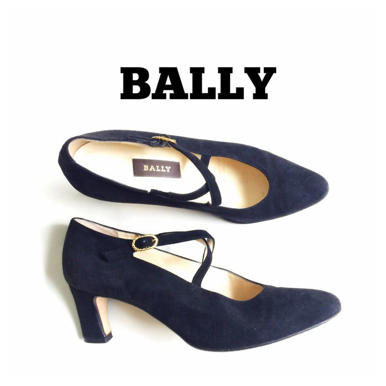 39d97487fff5 Vintage BALLY Womens Shoes Size 7 Mary Janes Black Suede