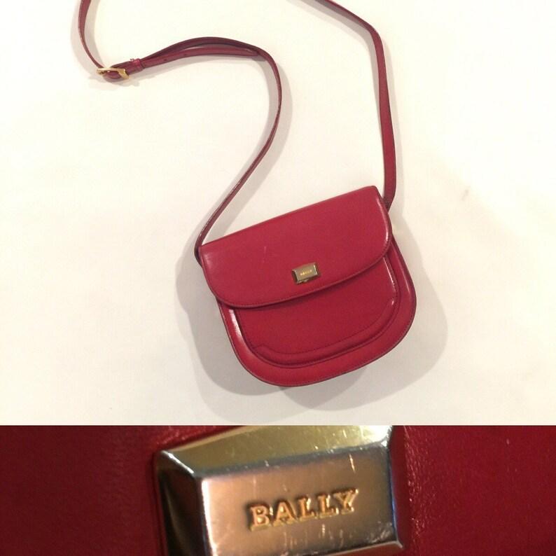 7fd1055810 Vintage BALLY Handbag Red Leather Canteen Bag Crossbody Purse