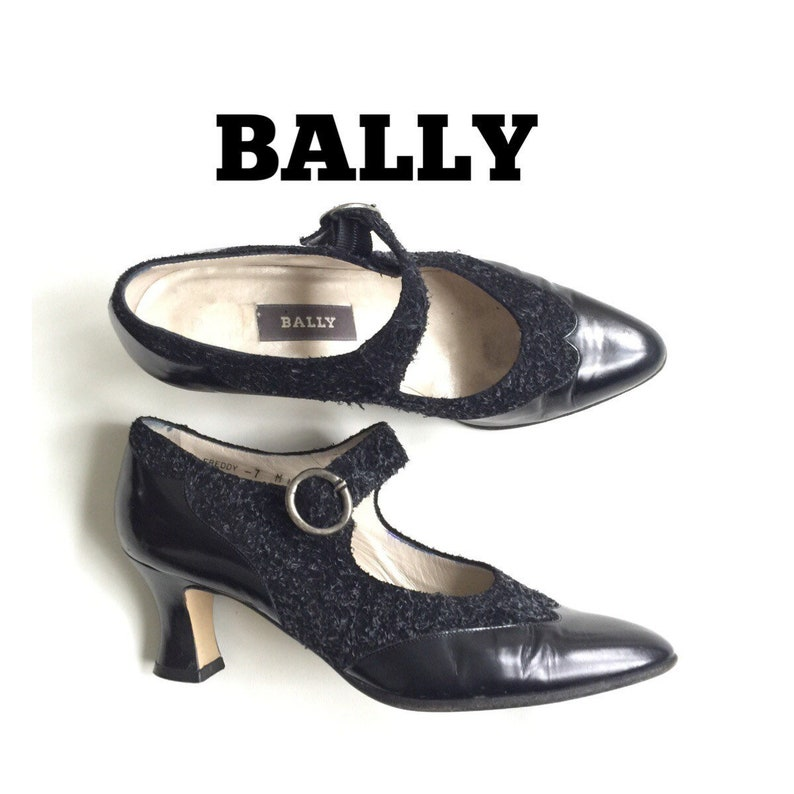 BALLY Vintage Mary Jane Shoes Size 7 Low Heels Oxford Wingtips  64c0c4ec4b