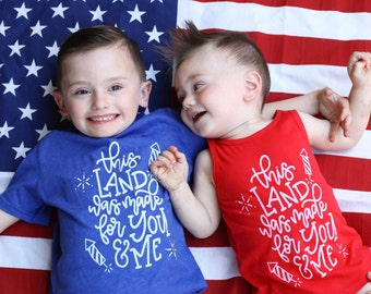 Fourth of july t shirt, 4th of july shirt, kids 4th shirt, 4th of july, this land was made for you and me