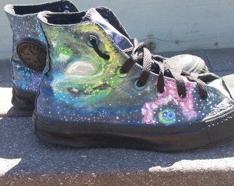 Hand painted Galaxy shoes, painted converse, galaxy chuck taylors, custom painted shoes/ sneakers/ high tops, custom designed shoes