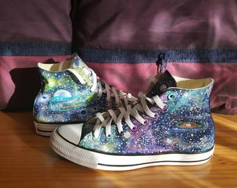 8596c2765b Hand painted galaxy converse shoes