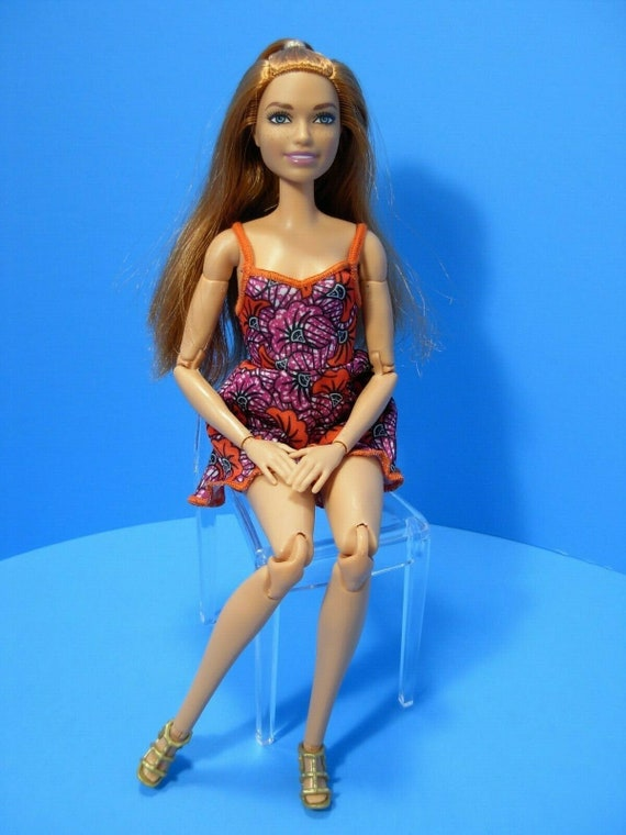 Hybrid Barbie doll made to move Fashionista Red Hair ginger blue eyes  summer orange jumper articulated posable